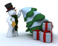 Snowman in hat and scarf Royalty Free Stock Image