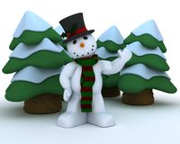 Snowman in hat and scarf Royalty Free Stock Photography