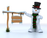 Snowman in hat and scarf Stock Photos