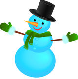Snowman with hat with scarf Stock Photo