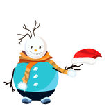 Snowman with hat on white background. Snowman. Illustration Stock Photography