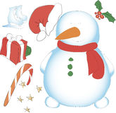 Snowman hatless, skating, box and other decorative elements. New Royalty Free Stock Images