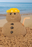 Snowman having holidays Stock Image