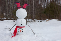 Snowman headstand Stock Photo