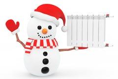 Snowman with Heating Radiator Stock Photos