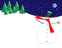 Snowman on the Hill. An adorable snowman on a hill during a snowstorm with trees and a crescent moon Vector Illustration