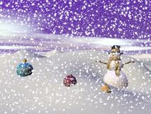 Snowman on a hill - 3d render Royalty Free Stock Photos