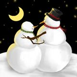 Snowman and his girl in funny winter illustration. Cute snowman and his girl in a funny winter night scene that is romantic and charming vector illustration