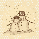 Snowman and his girlfriend in love. On dotted background Royalty Free Stock Photo