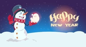 Snowman Hold Cute Dog Symbol Of New Year 2018 Decoration Holiday Greeting Card Royalty Free Stock Image