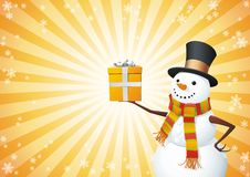 Snowman hold the gift Stock Photography