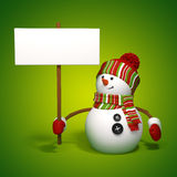 Snowman holding banner. On green background Stock Photo