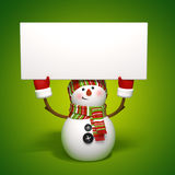 Snowman holding banner Stock Images