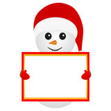 Snowman holding a banner Stock Photography