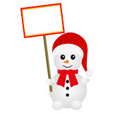 Snowman holding a banner Royalty Free Stock Photo