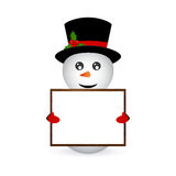 Snowman holding a banner Stock Photos