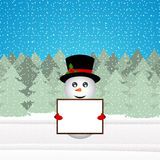 Snowman holding a banner Stock Photo