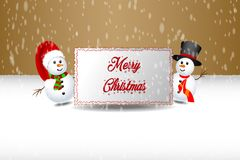 Snowman holding banner Stock Image