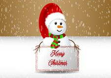 Snowman holding banner royalty free stock photo