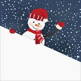Snowman holding for a banner in vector Stock Photography