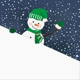 Snowman holding for a banner in vector Royalty Free Stock Photos