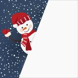 Snowman holding for a banner in vector Stock Images