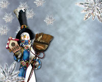 Snowman holding birdhouse and broom. With snowflakes background Stock Images