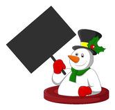 Snowman Holding a Blank Banner Royalty Free Stock Photos