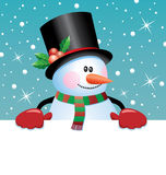 Snowman holding blank paper. Christmas illustration of snowman holding blank paper for your text, vector Stock Photography
