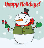 Snowman holding a candy cane Royalty Free Stock Images
