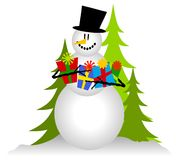 Snowman Holding Christmas Gifts 2. A clip art illustration of a snowman holding a bunch of Christmas presents as he sits in the snow. This version is isolated on Royalty Free Stock Image