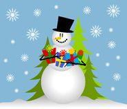 Snowman Holding Christmas Gifts. A clip art illustration of a snowman holding a bunch of Christmas presents as he sits in the snow Stock Images