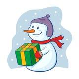 Snowman holding christmas present Stock Photos