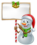Snowman Holding Christmas Sign Stock Photography