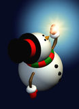 Snowman holding christmas star in the night. Cartoon snowman holding christmas star in the night Royalty Free Stock Image