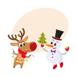 Snowman holding Christmas tree and reindeer with a garland. Happy snowman holding Christmas tree and funny reindeer with a garland, cartoon vector illustration Stock Images