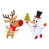 Snowman holding Christmas tree and reindeer with a garland. Happy snowman holding Christmas tree and funny reindeer with a garland, cartoon vector illustration Royalty Free Stock Photos