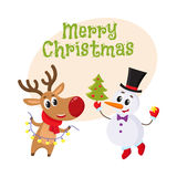 Snowman holding Christmas tree and reindeer with a garland. Merry Christmas greeting card template with Happy snowman holding Christmas tree and funny reindeer Stock Image