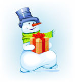Snowman holding a gift Royalty Free Stock Photos