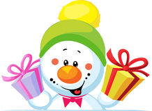 Snowman holding gift peep out. Through the blank background isolated on white Stock Images
