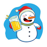 Snowman holding a glass of beer Royalty Free Stock Photography