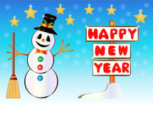 Snowman holding a Happy New Year signpost Royalty Free Stock Photo