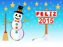 Snowman holding a Happy New Year signpost written on spanish Stock Photos