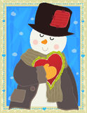 Snowman Holding Heart Royalty Free Stock Photos
