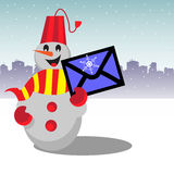 Snowman holding a letter stock image
