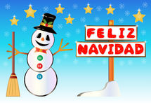 Snowman holding a Merry Christmas signpost written on spanish Stock Images