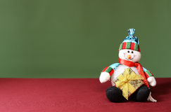 Snowman holding a new years gift Royalty Free Stock Photography