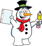 Snowman holding a pencil Royalty Free Stock Image