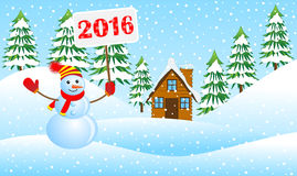 Snowman holding a poster with the numbers 2016 in the winter  Stock Photography