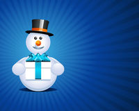 Snowman holding present Royalty Free Stock Image